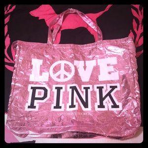 💕 HTF/RARE VS PINK HUGE Foil Tote Bag 💕